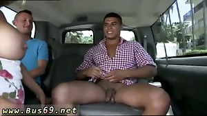 Hung straight guy fucks with a twink in the car